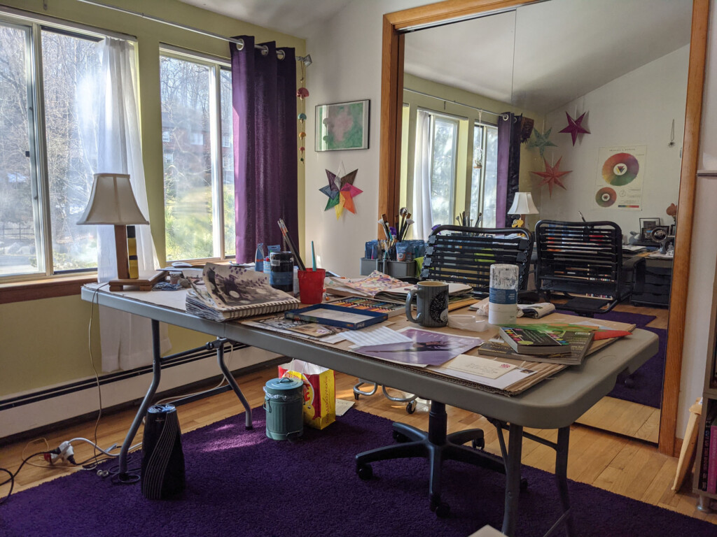 Image of my messy studio desk during a project