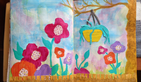 Image of art journal spread of flowers, a fence and a tree